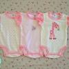 ไซส์ 0-3 6-9 เดือน บอดี้สูทเด็ก ลายยีราฟชมพู แพ็ค 3 ตัว