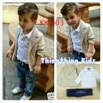 ชุดเด็กชาย เสื้อสีขาว เสื้อสูทสีครีม กางเกงยีนส์ห้าส่วน ไซส์ 5T,6T,7T