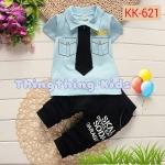 ชุดเสื้อสีฟ้า กางเกงสีกรมท่า ไซส์ S,M!L,XL (70,80,90,100)