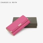 กระเป๋าสตางค์ Charles & Keith Wallet CK2-10840005 สีชมพู แบบพับ พร้อมส่ง ที่ไทย