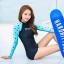 SM-V1-410 ชุดว่ายน้ำแขนยาว พื้นสีดำแขนสีฟ้าลายหัวใจ กางเกงขาสั้นสีดำ thumbnail 1