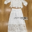 Lady Veronica White Guipure Lace Cropped Top and Maxi Skirt Set L273-8505 thumbnail 10
