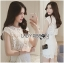 Lady Jessie Minimal Feminine Lace Sleeveless Top and Lace Shorts Set L268-7901 thumbnail 3