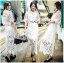 Lady Veronica White Guipure Lace Cropped Top and Maxi Skirt Set L273-8505 thumbnail 1