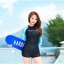 SM-V1-410 ชุดว่ายน้ำแขนยาว พื้นสีดำแขนสีฟ้าลายหัวใจ กางเกงขาสั้นสีดำ thumbnail 5