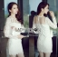 Lady Nana Sweet Classic Body Con Lace and Tulle Dress in White L218-79C03 thumbnail 3