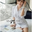 Lady Emily Basic Striped Shirt Dress in White thumbnail 5