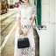 Lady Veronica White Guipure Lace Cropped Top and Maxi Skirt Set L273-8505 thumbnail 2