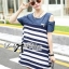 DR-LR-287 Lady Rita Casual Style Cut-Out Denim Striped Dress thumbnail 7