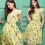 Daisy yellow netural print dress with yellow belt thumbnail 6