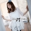 Lady Michelle Floral Embroidered Layer Tulle Blouse in White L144-69C05 thumbnail 1