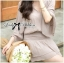 DR-LR-294 Lady Jane Classic Glam Smock Chiffon Dress in Beige thumbnail 6
