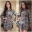 DR-LR-233 Lady Diana Glam Ruffle Houndstooth Shirt Dress thumbnail 1