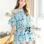 Lady Margaret Sweet Sexy Cut-Out Flower Printed Blue Dress thumbnail 5