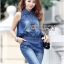 Lady Leslie Sleeveless Collar Studded Zippy Denim Jumpsuit L178-79C07 thumbnail 9