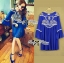 DR-LR-151 Lady Jacqueline Embroidered Chiffon Pleated Dress in Electric Blue thumbnail 5