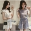 Lady Jessie Minimal Feminine Lace Sleeveless Top and Lace Shorts Set L268-7901 thumbnail 1