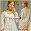 Lady Jen Feminine Laser-Cut and Embroidered Lace Dress in White L201-75C04 thumbnail 8