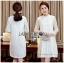 Lady Nara Classic Striped High-Neck Lace Dress L234-79C02 thumbnail 4