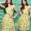 Daisy yellow netural print dress with yellow belt thumbnail 5