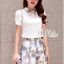 Korean short-sleeved two-piece organza floral skirts by Aris Code thumbnail 2