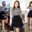 DR-LR-160 Lady Ballerina Stripe Black&White Mini Dress thumbnail 2
