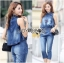 Lady Leslie Sleeveless Collar Studded Zippy Denim Jumpsuit L178-79C07 thumbnail 4