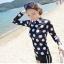 SM-V1-490 ชุดว่ายน้ำแขนยาว สีดำลายจุดขาวใหญ่ กางเกงขาสั้น (เสื้อ+กางเกง) thumbnail 8
