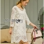 Lady Jen Feminine Laser-Cut and Embroidered Lace Dress in White L201-75C04 thumbnail 3