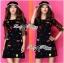 DR-LR-292 Lady Dree Monochrome Heart-Shaped Print Mini Dress thumbnail 9