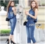 Lady Leslie Sleeveless Collar Studded Zippy Denim Jumpsuit L178-79C07 thumbnail 10