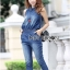 Lady Leslie Sleeveless Collar Studded Zippy Denim Jumpsuit L178-79C07 thumbnail 3