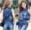 Lady Leslie Sleeveless Collar Studded Zippy Denim Jumpsuit L178-79C07 thumbnail 6