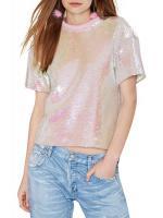 PINK SEQUINNED SHORT-SLEEVED TOPS [HAODUOYI] เสื้อผ้าผู้หญิงนำเข้า เสื้อปักเลื่อม เเขนสั้น คอกลม สีขาว (ออกเหลือบอมชมพูๆ) พร้อมส่ง