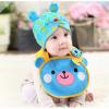 AP154••เซตหมวก+ผ้ากันเปื้อน•• / [สีฟ้า] น้องหมี