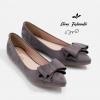 รองเท้าส้นแบนไซส์ใหญ่ Faux Suede Layered-bow สีเทา ไซส์ 42/46รุ่น KR0593