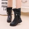 รองเท้าบู๊ทยาวเด็กหญิงสีดำ ซิปข้าง ประดับโบว์มุข Size 32-37
