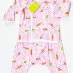 ชุดผูกหน้า เสื้อแขนยาว+กางเกงขายาว Size: 6M (6 เดือน)-สีชมพู ลายแครอท