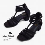 รองเท้าไซส์ใหญ่ส้นเตี้ย Gladiator Strappy ไซส์ 40-42 EU สีดำ รุ่น CH0136