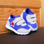รองเท้าคัชชูเด็กเล็ก สีฟ้าเทาดาวแดง Sport ผ้าตาข่ายฟองน้ำนิ่ม (เท้ายาว 10-12.5 ซม.)