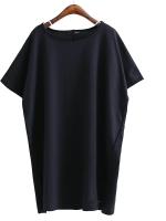 KOREAN OVER-SIZE T-SHIRT เสื้อยืดผู้หญิง เเขนสั้น คอกลม สีดำ งานเกาหลี พร้อมส่ง