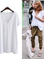 KOREAN V-NECK T-SHIRT เสื้อยืดผู้หญิง คอวี เเขนสั้น สีขาว งานเกาหลี