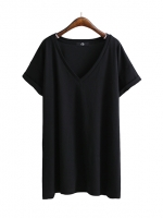 KOREAN V-NECK T-SHIRT เสื้อยืดผู้หญิง คอวี เเขนสั้น สีดำ งานเกาหลี