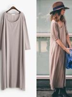 KOREAN OVER-SIZE T-SHIRT DRESS เดรสตัวยาว คอกลม สีน้ำตาล งานเกาหลี พร้อมส่ง