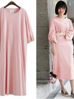 JAPANESE OVER-SIZE T-SHIRT DRESS เดรสตัวยาว คอกลม สีชมพู งานนำเข้า พร้อมส่ง