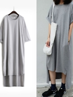 KOREAN T-SHIRT DRESS เดรสตัวยาว คอกลม เเขนสั้น สีเทา งานเกาหลี