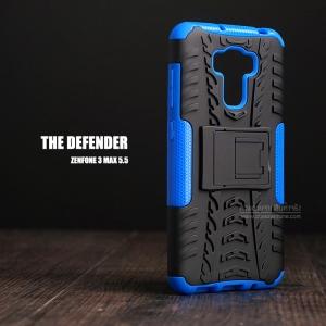 """เคส Zenfone 3 Max 5.5"""" (ZC553KL) เคสบั๊มเปอร์ Defender กันกระแทก มีขาตั้งในตัว สีน้ำเงิน"""