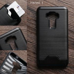 เคส Zenfone 3 ( ZE552KL ) 5.5 นิ้ว เคสกันกระแทก เกรดพรีเมี่ยม (Texture ลายโลหะขัด) พร้อมช่องใส่บัตร สีดำ