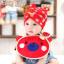 AP152••เซตหมวก+ผ้ากันเปื้อน•• / [สีแดง] น้องหมี thumbnail 3