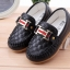 รองเท้าคัทชูเด็กเล็ก หนัง PU สีดำ ประดับโลหะ H และริบบิ้นหรู Size 21-30 thumbnail 4